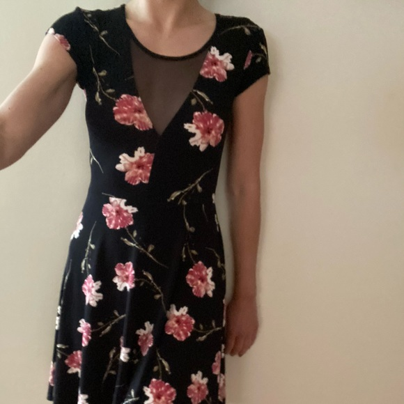 UO Kimchi blue sheer panel floral dress
